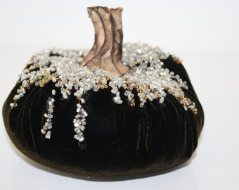 New Design - Plush Velvet Beaded Pumpkin in Chocolate  - Small - with handmade stem
