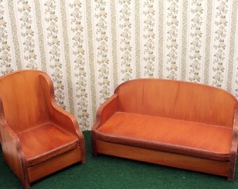 Dollhouse Doll Wood Furniture Wanner Grand Rapids Living Room Set Chair Couch made USA Vintage 1930s