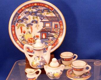 Miniature Tea Set Childrens Doll Dishes Asian Design 10 piece Porcelain