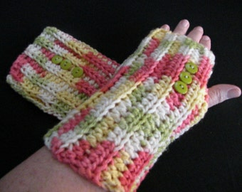 Adult Wrist Warmers, Wristers, Fingerless Gloves, Crocheted, Plus Sized, Multicolored, Warm