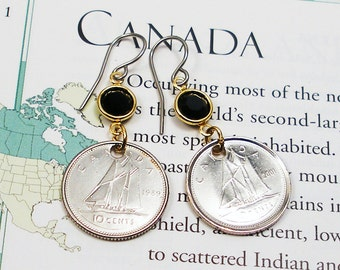 Canada, Vintage Coin Earrings - - Open Ocean - - Sailing - Fishing - Nautical - Ocean - Canadian History - Travel Gifts
