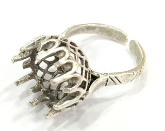 Adjustable Ring Blank, (12mm blank ) Antique Silver Plated Brass G5015