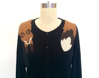 Fox Cardigan in Black by Dandyrions/ Women's Clothing