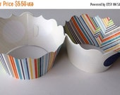 CLOSEOUT SALE Multi Colored Stripe and Large Dot Cupcake wrappers SET of 12