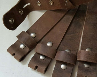 """Leather Snap Belts Fawn Brown Leather Belts for Suits or Jeans Made to Measure Custom Cut Leather Snap Belts 1.5"""" or 1.25"""" Cut to Your Size"""