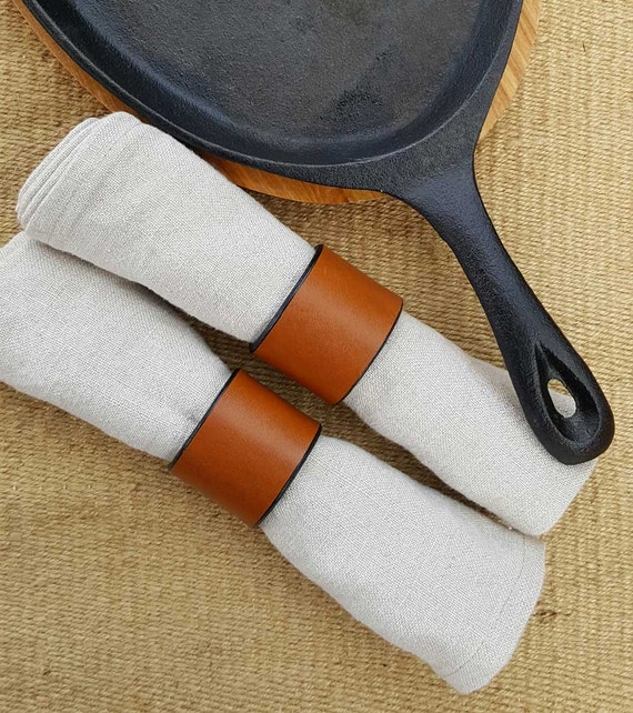 2 Leather Napkin Rings Variety Colours Tan, Orange, Chartreuse, Purple Dining ~ Housewarming ~ Hostess Gift ~ Home Decor ~ Kitchen Accessory