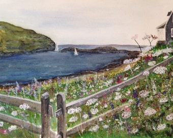 """Original Watercolor Monhegan Island, Maine Painting 27x21"""" Fence Frame by Artist Kellie Chasse, Wall Art, Wedding Gift, Home Decor, Flowers"""