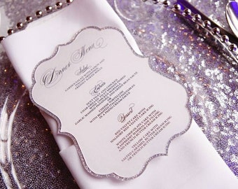 Glitter Die Cut Custom  Menu for Wedding Reception, Party or Banquet