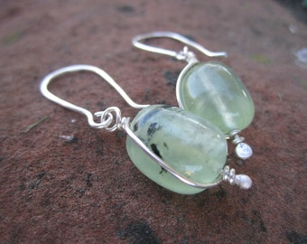 Prehnite and Sterling Silver Earrings