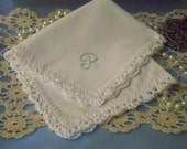 Monogrammed Handkerchief, Hanky, Hankie, Personalized, Embroidered, Custom, Hand Crochet,Lacy, Lace, White, Ladies, Women's, Ready to ship,