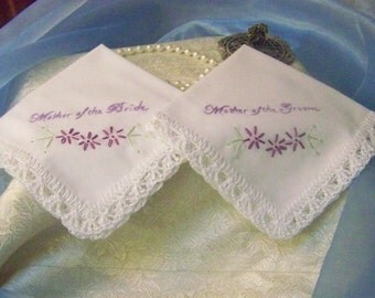 Mother of the Bride, Mother of the Groom, Handkerchief Set, Hand Crochet, Lace, Bridal Party Gift, Embroidered, Personalized, Ready to ship