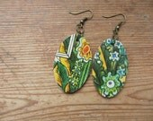Wooden Oval Boho Green Leaves and Flowers Earrings, Recycled Paper Earrings, Upcycled Children's Book Art, Paper Jewelry, 1st Anniversary