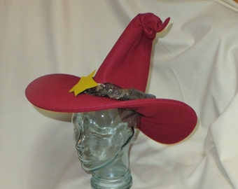 NEW!!! Red Witch Hat- Unseen University Wizard Hat- Felt Hat with Wired Brim and Star Trim
