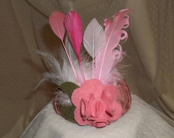 Pink Valentine Fascinator- Pink Button with Lace, Flower and Feathers- Headband- Mini Hat