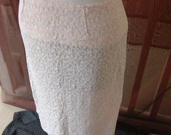 Sweet pink & white lace knee length skirt