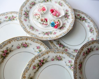 Vintage Noritake Salad Plates Somerset Blue Pink Floral Set of Six