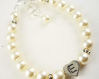 Pearl Cream Ivory Flower Girl Bracelet - Personalized