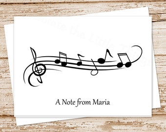 music note cards . notecards set . personalized stationery . folded stationary . musician music teacher gift . set of 8