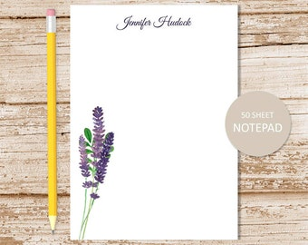 personalized notepad . lavender notepad . lavender note pad . personalized stationery . botanical stationary