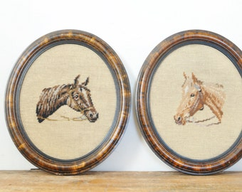 Vintage Framed Needlepoint Horses Pair Oval Wood Frames Western Horse Embroidery