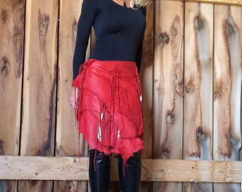 Skirt / Shawl  in Red Deerskin with Fringes and Silver Feathers