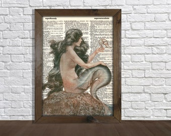 Mermaid Folklore Sea Creature Vintage Upcycled Dictionary Art Print