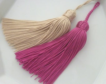 Hot pink and ivory  Moroccan tassels, art silk, set of 2