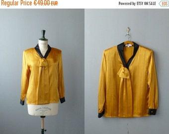 30% OFF SALE / Vintage 1980s blouse. 80s necktie blouse. Yellow and black satin blouse