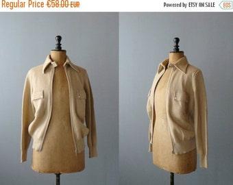 40% OFF SALE // Vintage sweater. Deadstock 1970s cardigan. Camel zipped cardigan