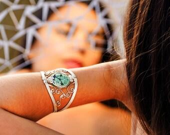 Turquoise Bracelet, Turquoise Silver Bracelet, Statement Bracelet, Wire Wrap Cuff Bracelet, Turquoise Cuff, Sterling Silver Bracelet
