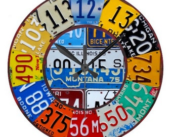 License Plate Reproduction Vintage Clock