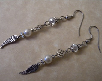 Pearl and  AB Crystal Wing Charm Earrings with Celtic Knot