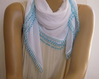 vintage white cotton scarf with blue beaded trim