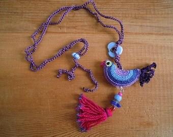 crochet bird necklace with tassel, purple blue