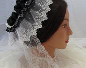 Victorian Civil War Lace Lappet Cap - Affordable Elegance