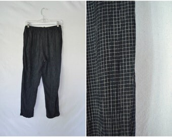 Vintage black checkered drawstring pants / loose slouch relaxed fit grid pants / small medium large