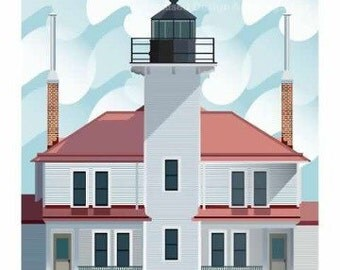 Lake Superior Shore Towns Series: Art Deco Raspberry Island Lighthouse Print