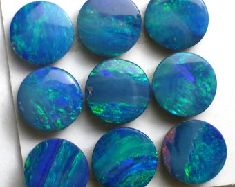 Opal Cabochon 6mm Round Confetti Blue Green Australian ONE STONE Perfect Stacking Rings Jewelry PinFire White Blue Teal Green Sparkle
