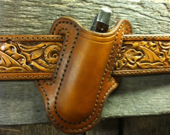 "Leather Knife Holster fits a 4 1/2"" folding knife"