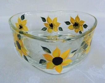Heart shape dish, candy dish, glass dish, hand painted candy dish, sunflowers, sunflower candy dish
