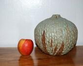 Mid Century Architectural, Coliseum, Textured, Large Sculptured Stoneware Onion / Weed Pot / Vessel / Vase