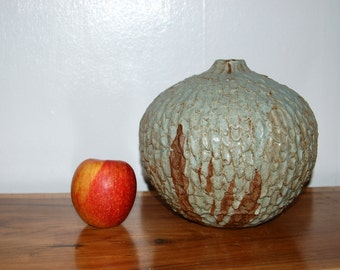 Mid Century Architectural Textured, Large Sculptured, Pebbled, Stoneware Onion / Weed Pot / Vessel / Vase