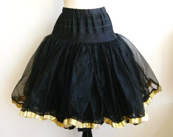 Vintage Can Can Girl Black Nylon Tulle Gold Lamé Trim Full Skirt Crinoline Petticoat