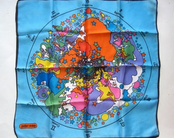 Vintage 60s Peter Max Age of Aquarius Psychedelic Blue Zodiac Square Scarf