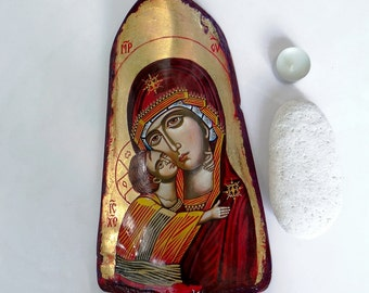 Virgin Mary and Christ child Icon, Tile Painting, The Virgin of Vladimir, 12 by 6 inches handpainted orthodox icon