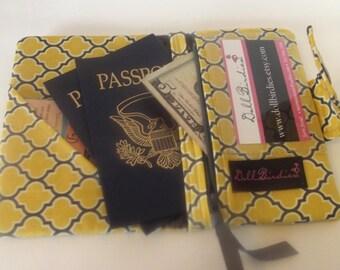 Dollbirdies Passport Wallet with Clear ID Window and Zipper Pocket