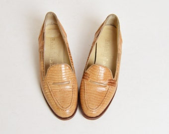 Vintage 90s Ralph Lauren Loafers / 1990s Brown Lizard Skin Loafers, 5 35