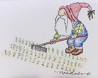 Greeting Card Tomte Nisse Gnome Troll Elf Wichtel Zwerg Garden Planting Illustration