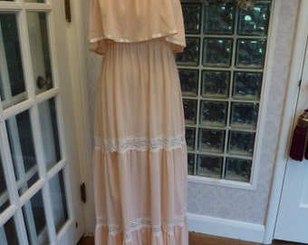 Vintage 70s 1970s Rags By Kressandra Maxi Dress Peach Gauzy Lace Tiered Boho Dress M Medium