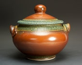 Sale - Handcrafted pottery soup tureen, stoneware casserole dish 2 quart iron red 2766